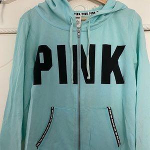 victoria secret pink teal hoodie